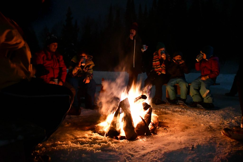 Campfire at the Candlelight Ski and Snowshoe, Oberg Mt.