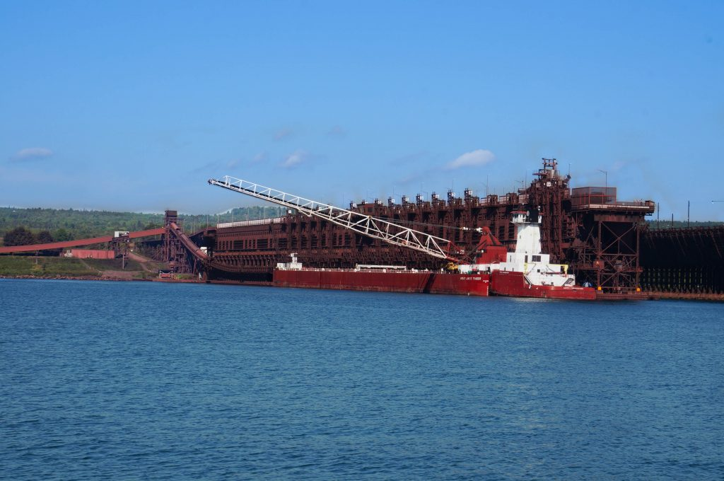 Ship loading up with iron at the Two Harbors Ore Docks