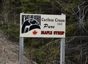 Caribou Cream sign on the Caribou Trail in Lutsen