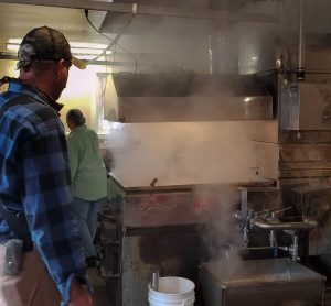 Steam from the maple syrup evaporating process