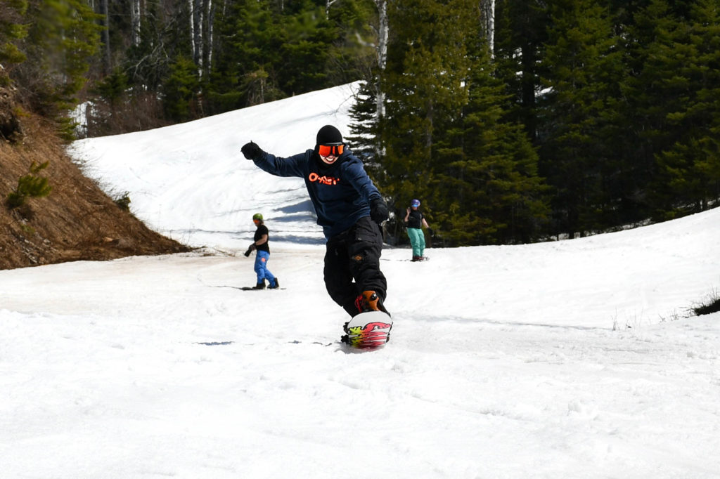 Snowboarding in May at Lutsen Mountains