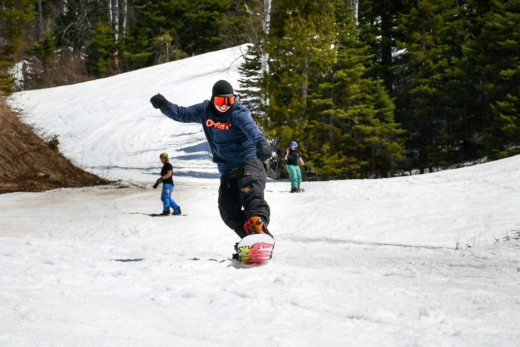 Snowboarding in May at Lutsen Mountains, Minnesota