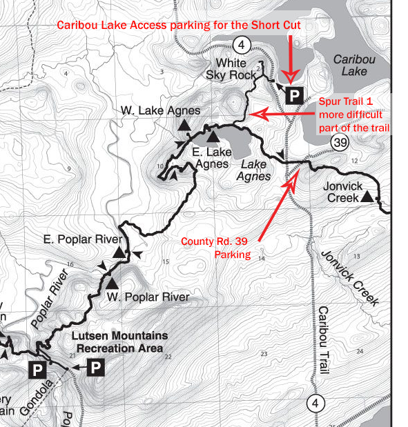 Superior Hiking Trail Map Lake Agnes and White Sky Rock