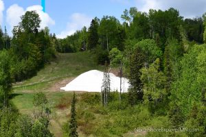 Snow piles in June at Lutsen Mountains
