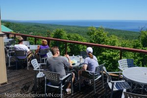 Outdoor dining at Summit Chalet, Lutsen Mountains