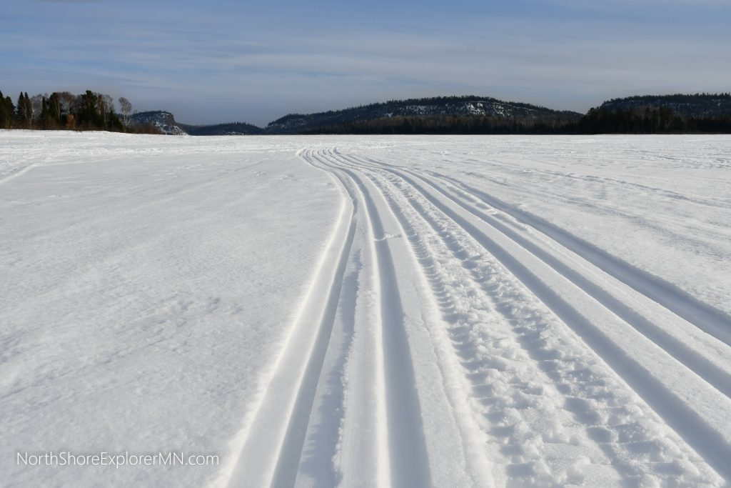 Tracks from the sled make a great cross country ski trail!