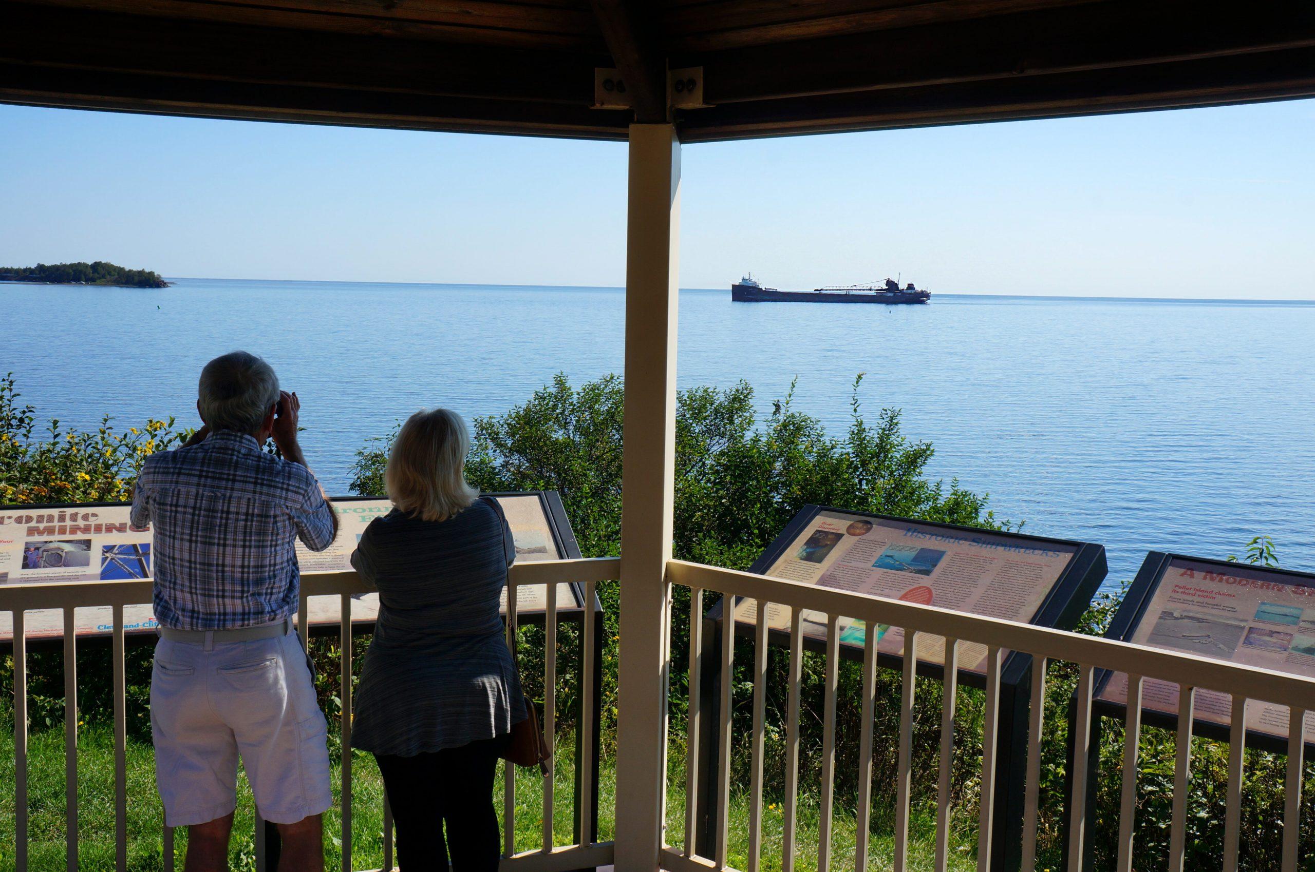Ship watching at the Silver Bay Marina