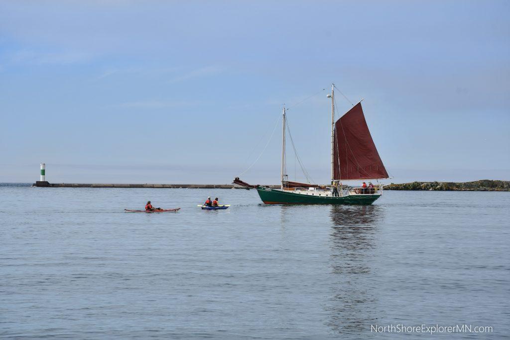 kayaking by the schooner Hjordis, Grand Marais MN