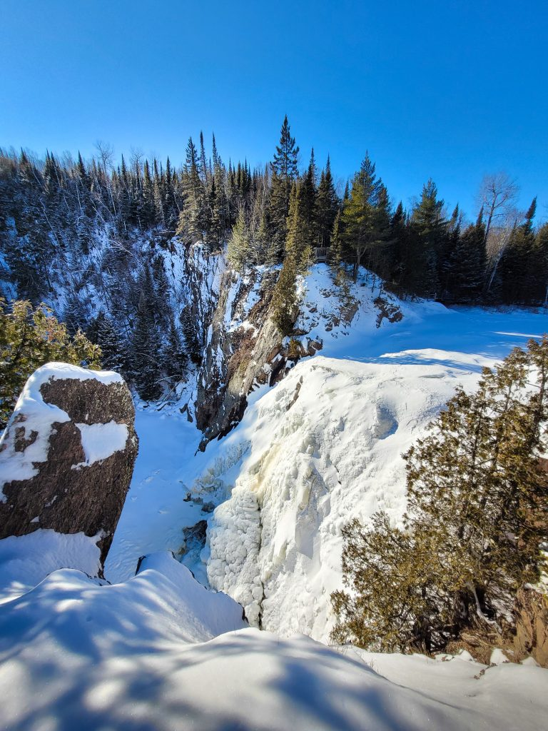 view from above High Falls, Tettegouche State Park