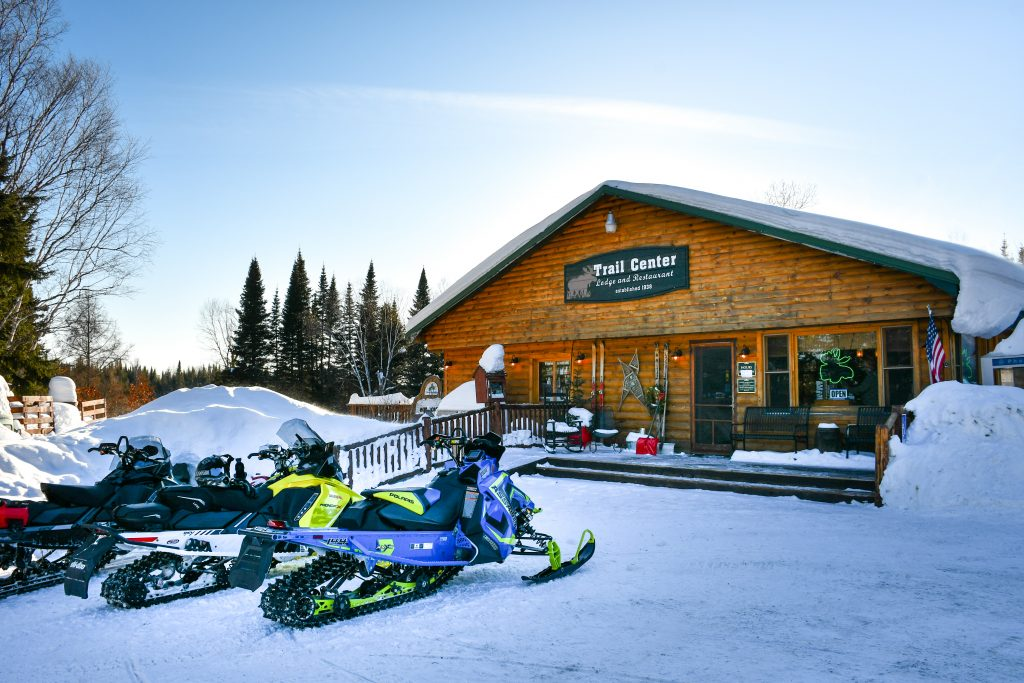 Snowmobiling on the Gunflint Trail, on the North Shore MN