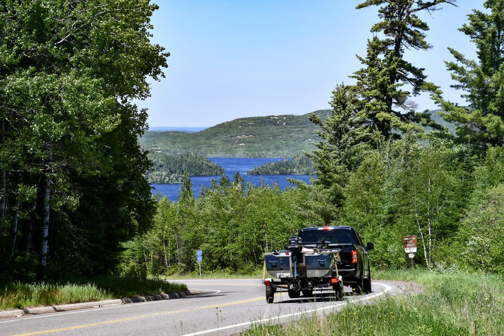 Gunflint Trail Scenic Byway with a view of Gunflint Lake
