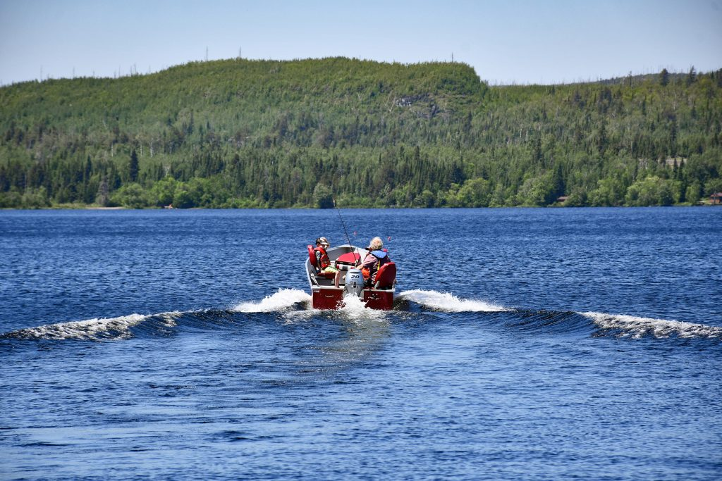 Fishing boat on a lake on the Gunflint Trail