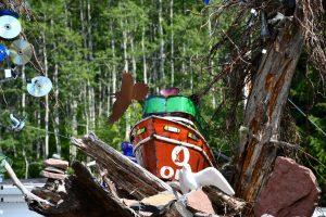 driftwood display near Grand Marais, MN