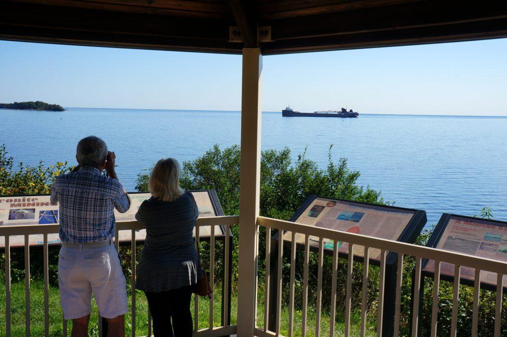 watching ship from the Silver Bay Marina