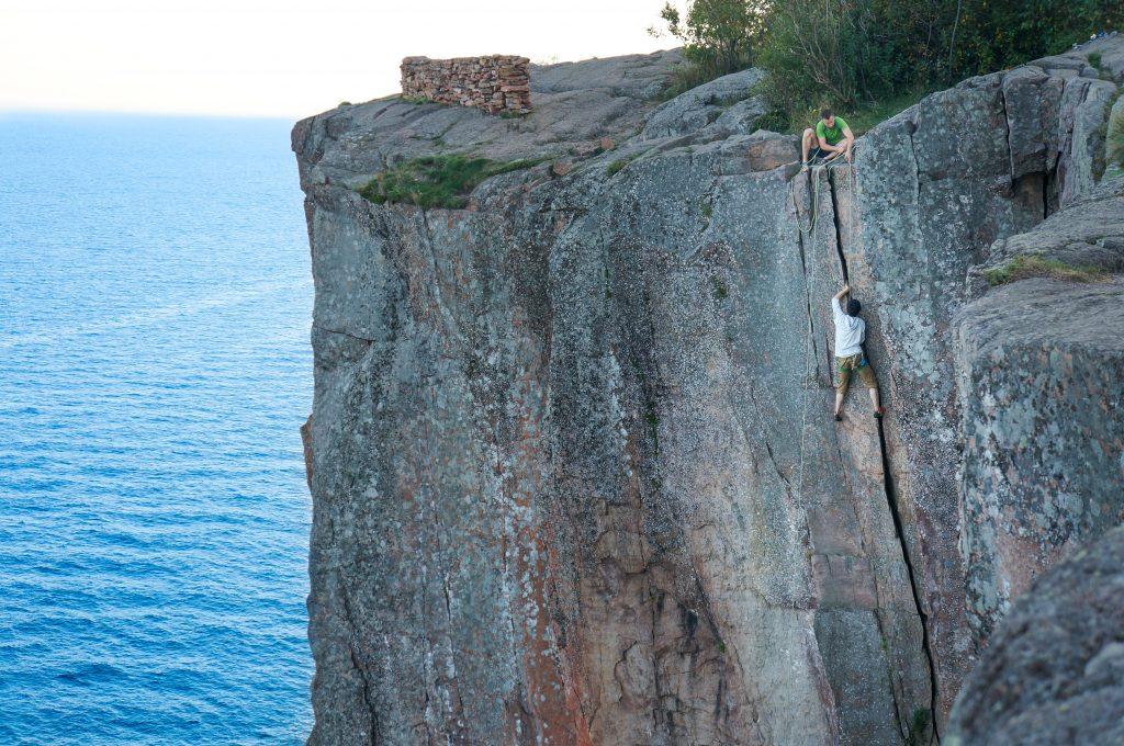 Rock Climbing at Palisade Head, North Shore MN