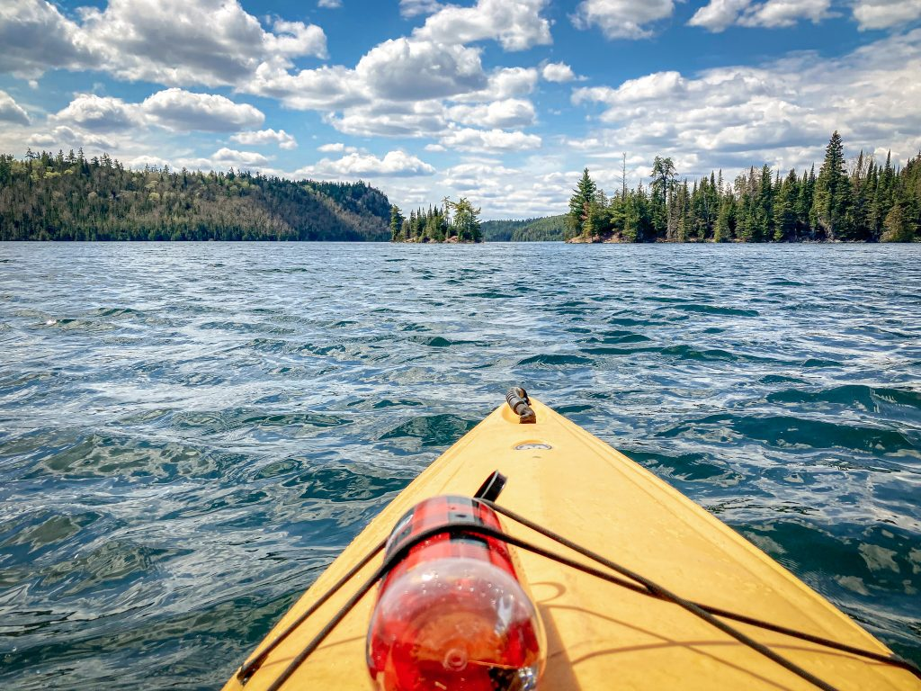 kayaking Clearwater Lake on the Gunflint Trail MN